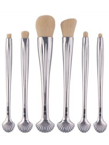 6Pcs Plating Tiny Shell Facial Makeup Brushes Set Argent