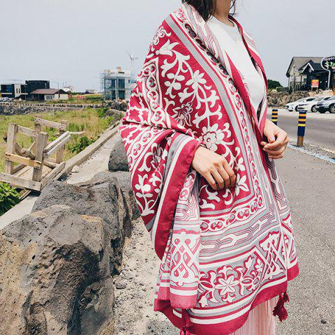 Outfit Floral Anthemy Pattern Vintage Ethnic Shawl Scarf RED
