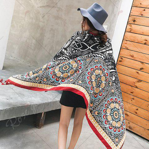 Best Ethnic Flowers Printed Cotton Blended Shawl Scarf - BLACK  Mobile