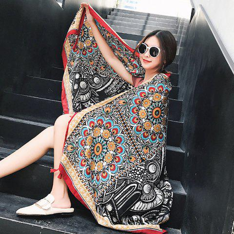 Affordable Ethnic Flowers Printed Cotton Blended Shawl Scarf - BLACK  Mobile