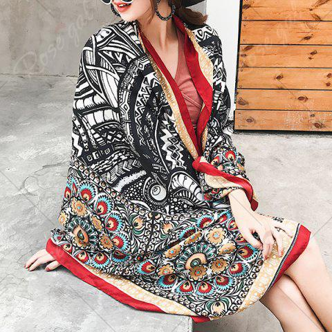 Hot Ethnic Flowers Printed Cotton Blended Shawl Scarf - BLACK  Mobile
