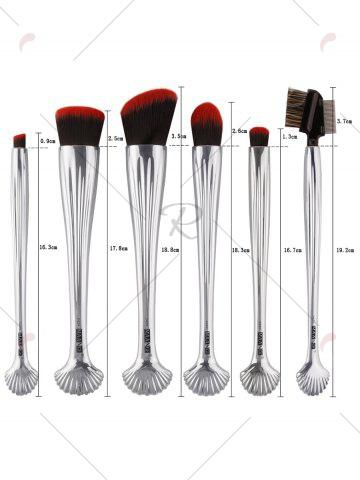 Best 6Pcs Plated Shell Facial Makeup Brushes Kit - SILVER  Mobile