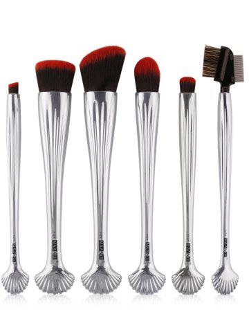Online 6Pcs Plated Shell Facial Makeup Brushes Kit - SILVER  Mobile