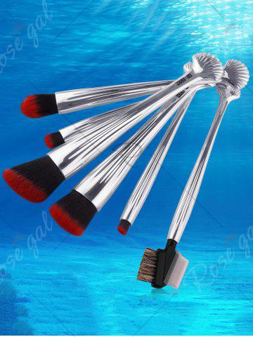 Buy 6Pcs Plated Shell Facial Makeup Brushes Kit - SILVER  Mobile