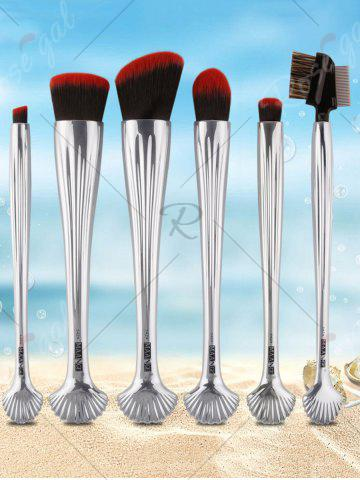Discount 6Pcs Plated Shell Facial Makeup Brushes Kit - SILVER  Mobile