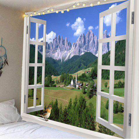 Outfit Window Landscape Waterproof Hanging Wall Tapestry GREEN W79 INCH * L59 INCH