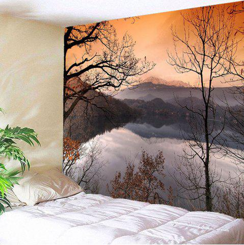Buy Landscape Lake Printed Waterproof Wall Art Tapestry COLORFUL W79 INCH * L71 INCH