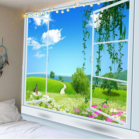 Fashion Waterproof Window Floral Pathway Butterfly Wall Tapestry - W59 INCH * L51 INCH GREEN Mobile