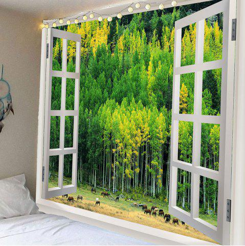 Chic Waterproof Window Forest Wall Art Hanging Tapestry GREEN W59 INCH * L51 INCH