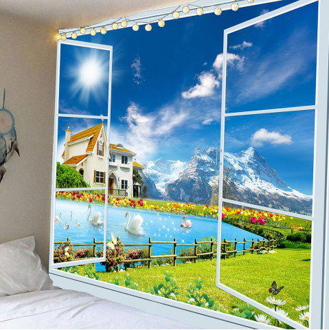 Unique Window Swans Lake Scenery Wall Waterproof Tapestry GREEN W59 INCH * L51 INCH