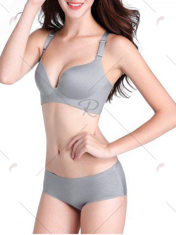 Fancy Seamless Push Up Adjustable Straps Bra - 90C GRAY Mobile