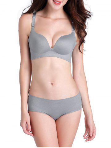 Best Seamless Push Up Adjustable Straps Bra - 90C GRAY Mobile