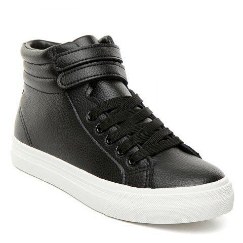 Shops Stitching High Top Athletic Shoes BLACK 38