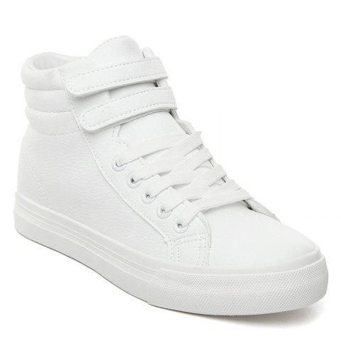 Unique Stitching High Top Athletic Shoes - 37 WHITE Mobile