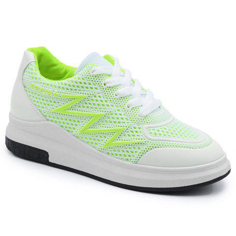 Shop Faux Leather Insert Breathable Athletic Shoes - 38 NEON GREEN Mobile