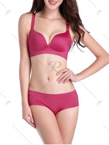 Affordable Seamless Push Up Adjustable Straps Bra - 85C RED Mobile