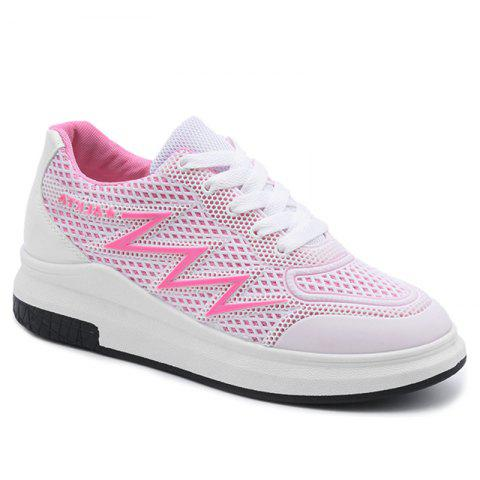 Trendy Faux Leather Insert Breathable Athletic Shoes - 38 PINK Mobile