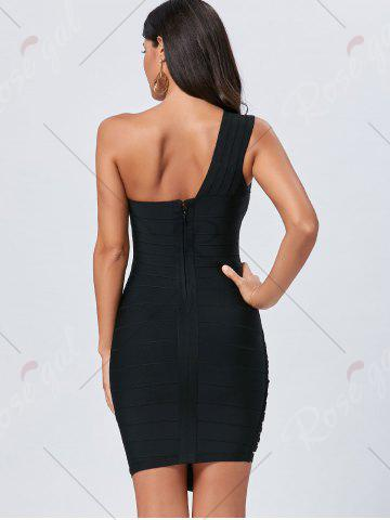 Outfit Bodycon Lace Up One Shoulder Bandage Dress - S BLACK Mobile