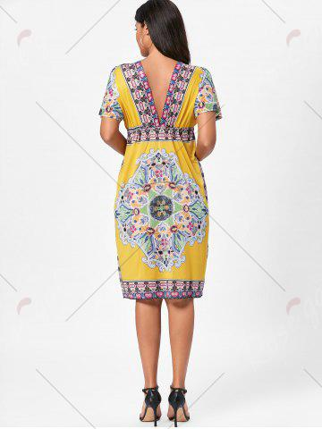 Trendy Backless Aztec Print Plunge Shift Dress - ONE SIZE YELLOW Mobile