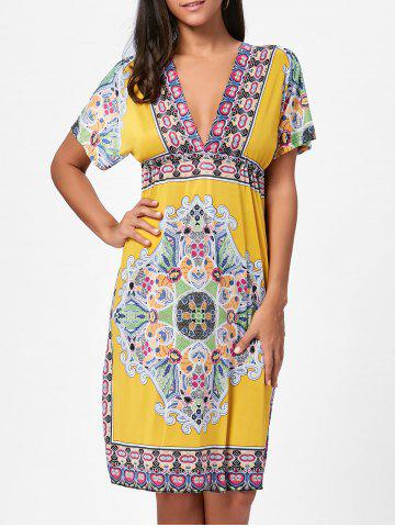 Best Backless Aztec Print Plunge Shift Dress - ONE SIZE YELLOW Mobile