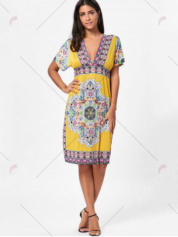 Cheap Backless Aztec Print Plunge Shift Dress - ONE SIZE YELLOW Mobile