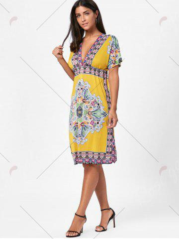 Outfit Backless Aztec Print Plunge Shift Dress - ONE SIZE YELLOW Mobile