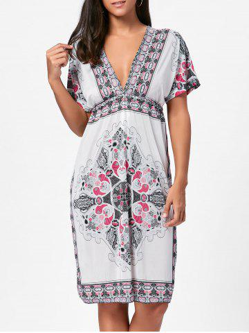 Cheap Backless Aztec Print Plunge Shift Dress - ONE SIZE WHITE Mobile