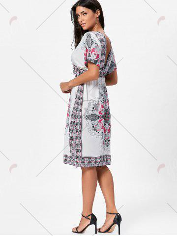 Trendy Backless Aztec Print Plunge Shift Dress - ONE SIZE WHITE Mobile
