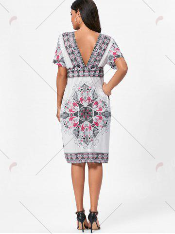 Shop Backless Aztec Print Plunge Shift Dress - ONE SIZE WHITE Mobile
