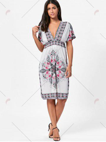 Outfit Backless Aztec Print Plunge Shift Dress - ONE SIZE WHITE Mobile