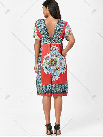 Hot Backless Aztec Print Plunge Shift Dress - ONE SIZE RED Mobile