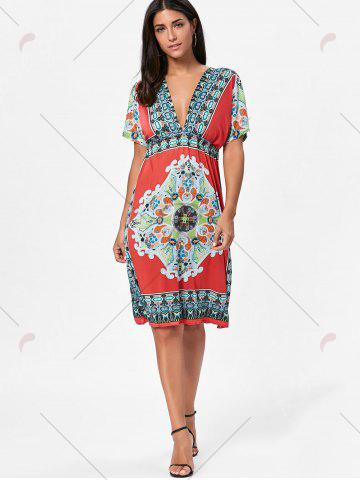 Online Backless Aztec Print Plunge Shift Dress - ONE SIZE RED Mobile