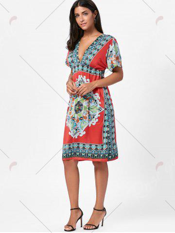 Trendy Backless Aztec Print Plunge Shift Dress - ONE SIZE RED Mobile