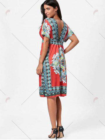 Shop Backless Aztec Print Plunge Shift Dress - ONE SIZE RED Mobile