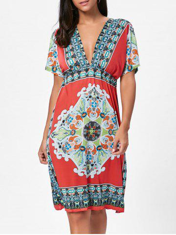 Outfit Backless Aztec Print Plunge Shift Dress - ONE SIZE RED Mobile