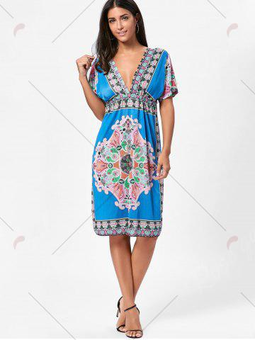 Trendy Backless Aztec Print Plunge Shift Dress - ONE SIZE BLUE Mobile