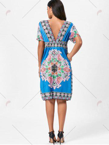 Hot Backless Aztec Print Plunge Shift Dress - ONE SIZE BLUE Mobile