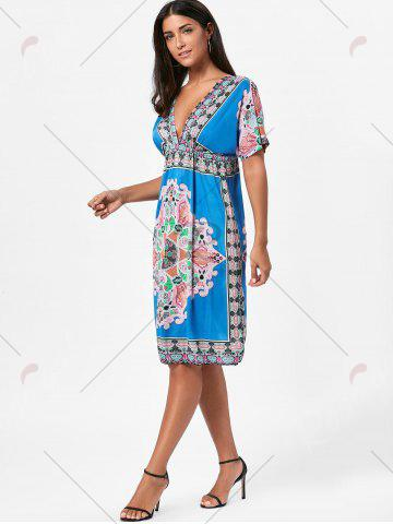 Shop Backless Aztec Print Plunge Shift Dress - ONE SIZE BLUE Mobile
