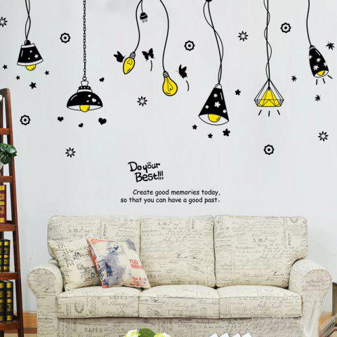 Shop Cartoon Ceiling Lamp Letters Removable Wall Art Stickers BLACK
