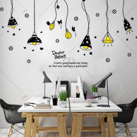 Best Cartoon Ceiling Lamp Letters Removable Wall Art Stickers - BLACK  Mobile