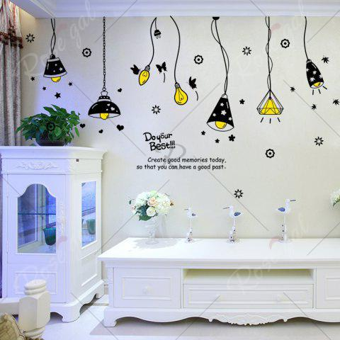 Shops Cartoon Ceiling Lamp Letters Removable Wall Art Stickers - BLACK  Mobile