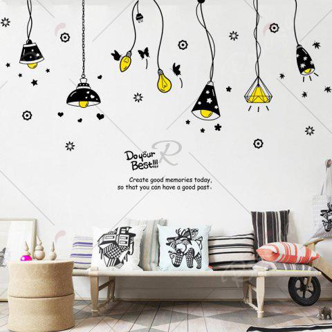 Unique Cartoon Ceiling Lamp Letters Removable Wall Art Stickers - BLACK  Mobile