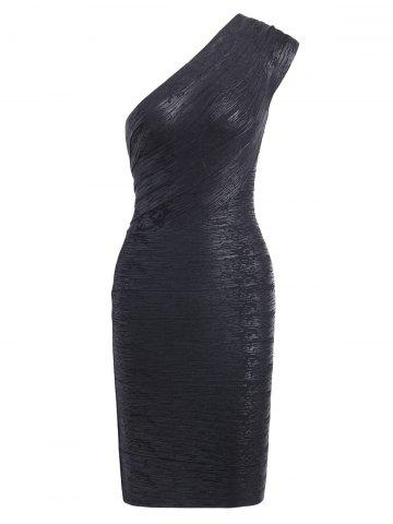 Bodycon Bronzing One Shoulder Bandage Dress - Black - L