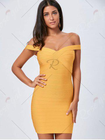 Outfits Night Out Off The Shoulder Bandage Dress - S YELLOW Mobile