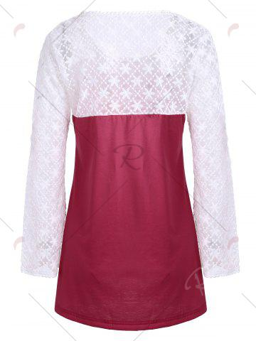 New Lace Panel Long Sleeve Ombre Top - S RED Mobile