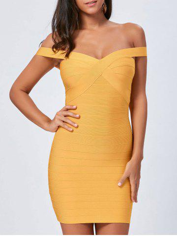Shop Night Out Off The Shoulder Bandage Dress - L YELLOW Mobile
