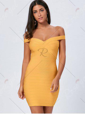 Fashion Night Out Off The Shoulder Bandage Dress - L YELLOW Mobile