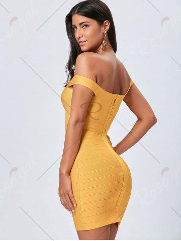 Affordable Night Out Off The Shoulder Bandage Dress - L YELLOW Mobile