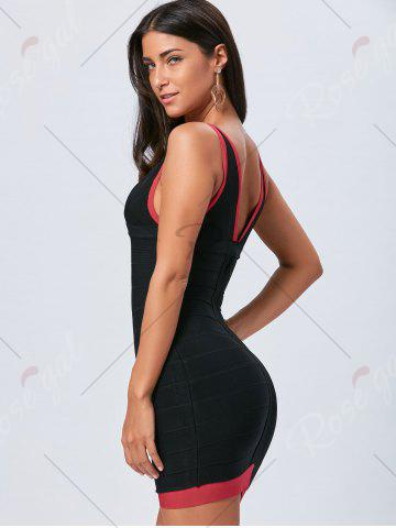 Online V Neck Bodycon Color Block Bandage Dress - L BLACK Mobile