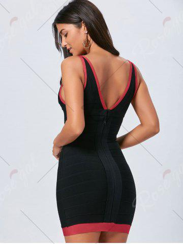 Latest V Neck Bodycon Color Block Bandage Dress - L BLACK Mobile